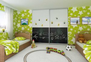 children's sliding wardrobe with chalkboard
