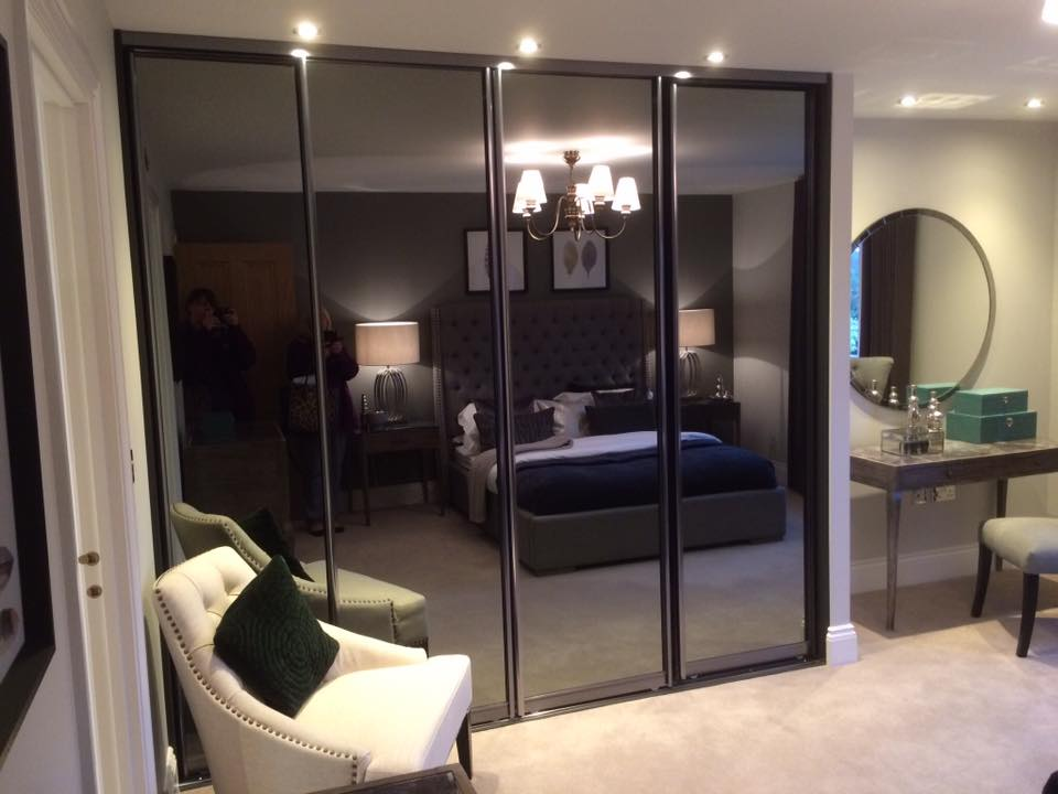4 panel sliding mirrored wardrobe doors