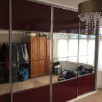 4 panel split dark red sliding wardrobe