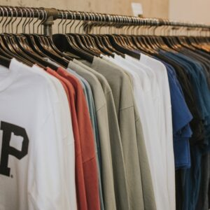 clothes hung up in an organised fashion